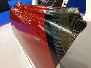 Car door showing hybrid carbon/flax/carbon layup