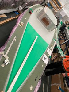 International 5.5 Metre racing yacht being manufactured from Evopreg EPC200 low temperature, out-of-autoclave cure prepreg